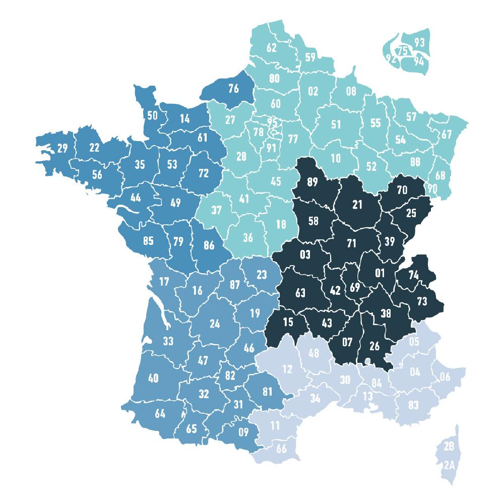 Carte de France de vos contacts UNEP